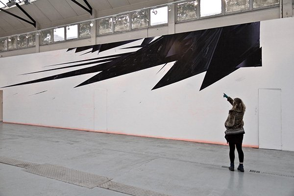 Thunderhorse, acrylic wall painting, 1750 x 430cm, Fishmarket Gallery, 2011 (photo: Andrew Hilton)