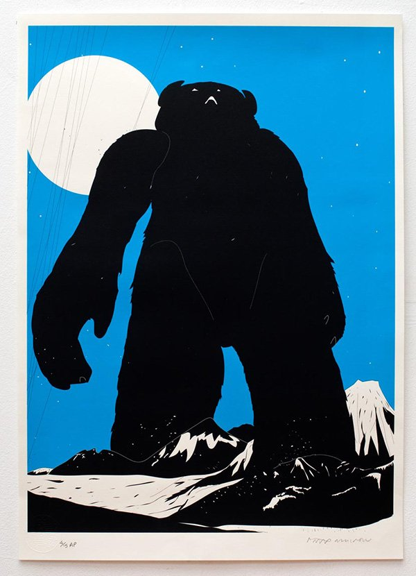 Yeti Over Mount Fuji (1st edition - cyan), silkscreen on paper, 42 x 59.4cm, 2005 (photo: Matthew Blaney)